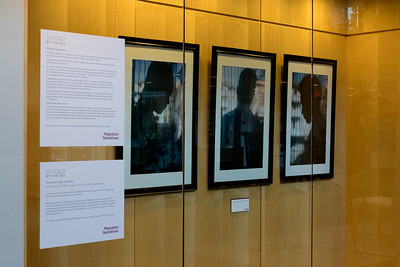 Photos from the Divided by the Sea project display portraits of three men who fled from civil war in Libya to seek refuge in San Giovanni, Italy.