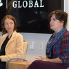 Katy Clune '15 M.A. (right), project researcher and curator of Home in a New Place, and Hannah Gill (left), director of the Latino Migration Project and New Roots/Nuevas Raíces, discuss their work in chronicling the experiences of migrants in North Carolina.