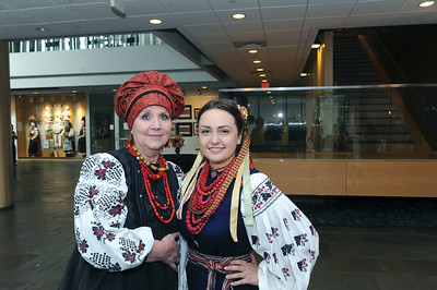 Olena Zintchouk, featured artist, and Iryna Voloshyna, a Ukrainian graduate student in the Department of American Studies,  pose for a photo before the keynote lecture in the Nelson Mandela Auditorium.  Photo by Donn Young.