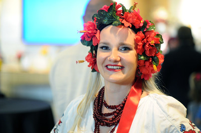 Oksana Koziaryk-Goldstein, a model for the fashion demonstration, is dressed in traditional Ukrainian clothing on loan from members of the Ukrainian Association of North Carolina.  Photo by Donn Young.