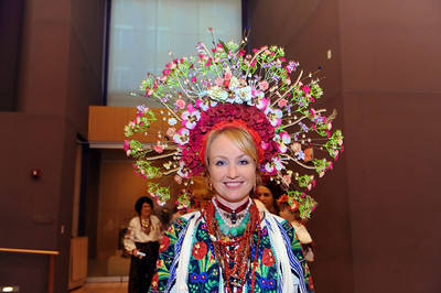 Model Lesia Zintchouk wears an elaborate Ukrainian headpiece, which she made herself.  Photo by Donn Young.