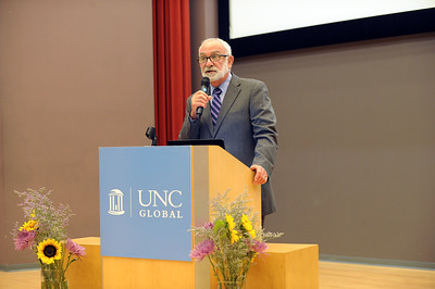 Ron Strauss, executive vice provost and chief international officer, provides welcoming remarks.  Photo by Donn Young.