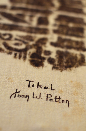 Tikal - Joan Patten Rubbing of Mayan stone stelae