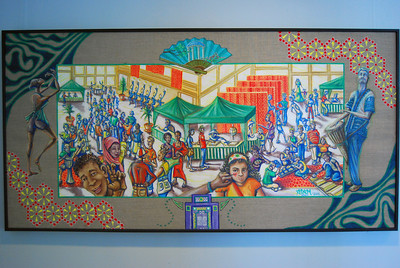 Global Village - Adam Kaynak  Oil on canvas  Gift of artist in commemoration of a UNC Global event