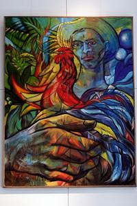 La Pluma Amarilla - Guillermo Orlando Piedra Labañino  Acrylic on canvas - 2003  Gift of artist Guillermo Orland Piedra Labañino