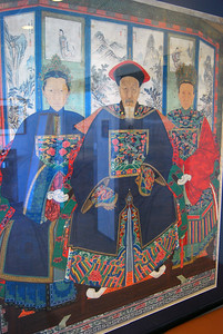 Portrait of a Courtier and Two Wives - Artist Unknown Restoration by Gu Xiagmei  Ink and color on cotton canvas  Gift of Everette James
