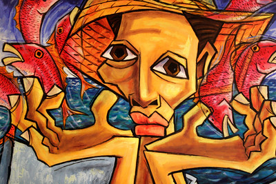 Man and Fish - Roel Caboverde Llacer  Oil on canvas - 2002  Gift of Richard Soloway