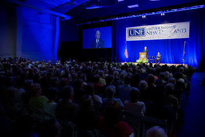 Senator George Mitchell speaking at the Bush Lecture Series at UNE on 9.12.17.  With UNE President James Herbert.