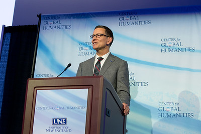 UNE Center for Global Humanities (CGH) Lecture with UNE President James Herbert on 9.11.17 at Innovation Hall, Portland, Maine.  Anouar Majid is the Director of the CGH.