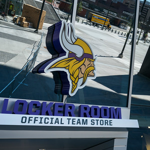 Viking Locker room sign and logo on the U.S. Bank Stadium, Minneapolis, Hennepin County, Minnesota, USA