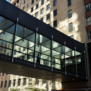 Skywalk by office building in city, Minneapolis, Hennepin County, Minnesota, USA