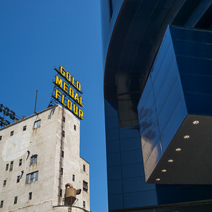 Gold Medal Flour sign on Mill City Museum Guthrie Theater, Minneapolis, Hennepin County, Minnesota, USA