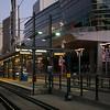 Railway station platform amidst modern office buildings at Downtown Minneapolis, Hennepin County, Minnesota, USA