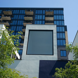 Low angle view of modern office building, Minneapolis, Hennepin County, Minnesota, USA