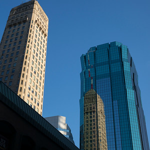 Low angle view of Downtown Minneapolis skyline, Hennepin County, Minnesota, USA