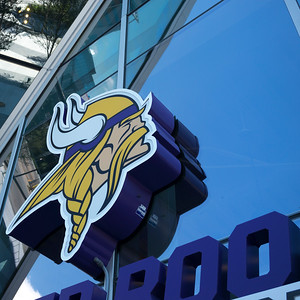 Minnesota Vikings Logo Sign on the U.S. Bank Stadium, Minneapolis, Hennepin County, Minnesota, USA