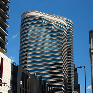 Low angle view of modern office buildings at Downtown Minneapolis, Hennepin County, Minnesota, USA