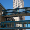 Skywalk by office buildings in Downtown Minneapolis, Hennepin County, Minnesota, USA