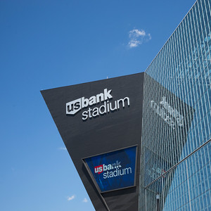 Low angle view of the U.S. Bank Stadium, Minneapolis, Hennepin County, Minnesota, USA