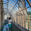 Young couple standing on balcony at Downtown Minneapolis, Hennepin County, Minnesota, USA