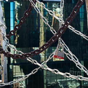 Close-up of padlock and chains at bridge, Minneapolis, Hennepin County, Minnesota, USA