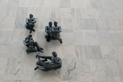 Statues on the Plummer building in Rochester, Minnesota, USA