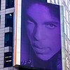 Low angle view of mural of Prince Rogers Nelson, Times Square, Manhattan, New York City, New York State, USA