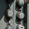 Close-up of electric meters, Seattle, Washington State, USA