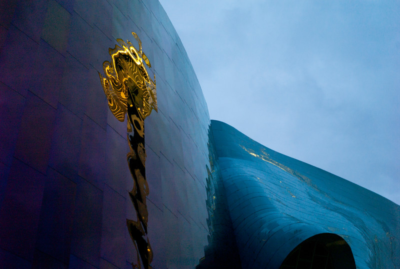 Reflection of Space Needle on a building, Experience Music Project, Seattle, Washington State, USA