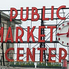 Public Market sign and clock, Pike Place Market, Seattle, Washington State, USA