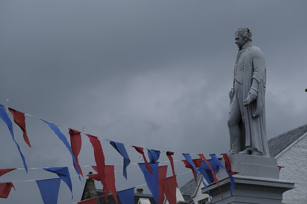 Bunting adorns Sir Walter Scott in Selkirk