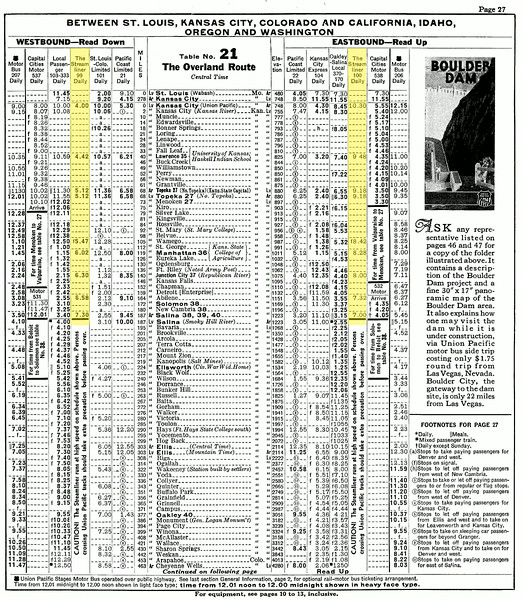 UP PTT 2-1-35 p27<br /> This schedule is in the February 1,1935 UP-PTT.<br /> The equipment for The Streamliner is not listed.<br /> Published information states that this train, the M-10000, started this service on January 1. 1935. This is the first UP-PTT to list it.