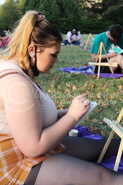 "Students came together at the Anderson Lawn to participate in an event called ""Sip and Paint"". Students sat on the lawn and painted while enjoying a beverage. The event was put together by the Student Union Council. Friday, October 9, 2020. (Jordan Henington 