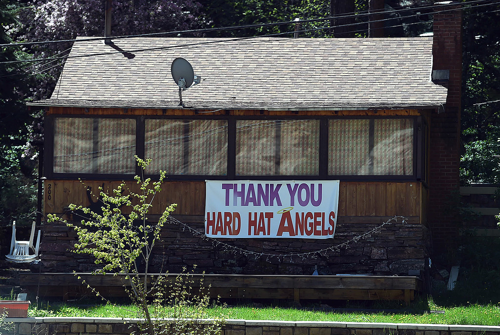 . A home on U.S. 34 in the Big Thompson Canyon displays a sign Monday, May 21, 2018, thanking road construction crews west of Loveland. (Photo by Jenny Sparks/Loveland Reporter-Herald)