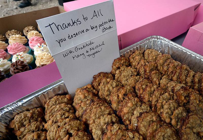 """Cookies with a """"Thank You"""" note made by Big Thompson resident Mary Myers sit on a table Thursday, May 31, 2018, during an event to celebrate the re-opening of U.S. 34 west of Loveland. Myers said she has made thousands of cookies for construction crews working on the road the last couple of years.  (Photo by Jenny Sparks/Loveland Reporter-Herald)"""