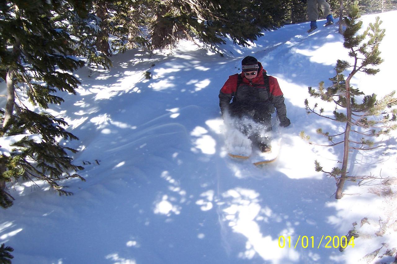 Snowshoe sledding!