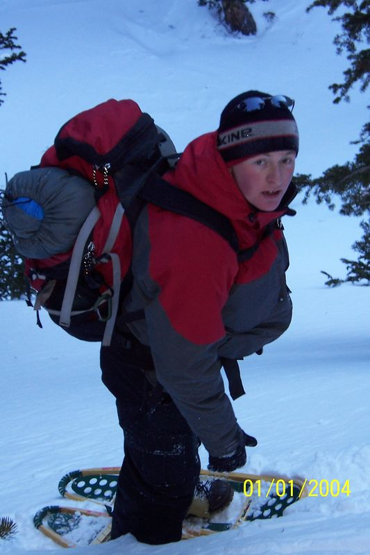 Matt - on his first winter trip, surrounded by mountains, trusting that me & Brit will bring him out alive