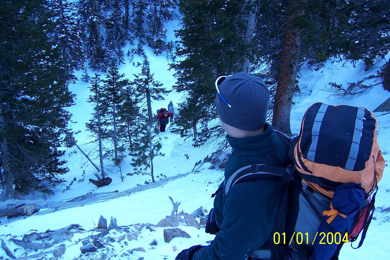 Matt finds out his rental snowshoes work better as walking sticks on rough terrain