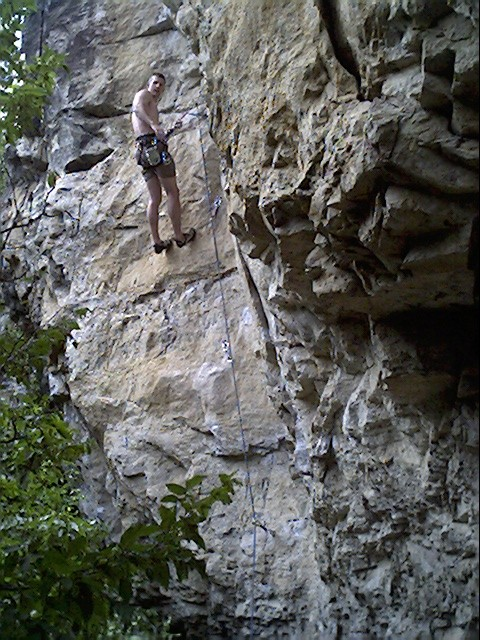 Superb limestone climbing at Skeletal Remains, Spearfish Canyon, SD.