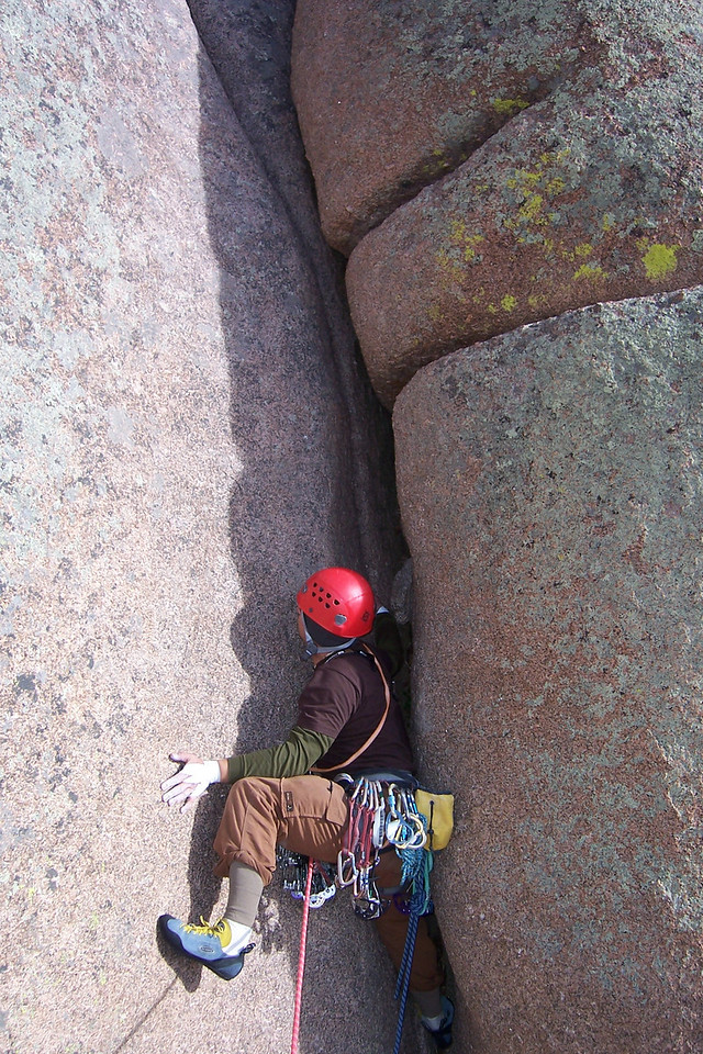 This is at Vedauwoo, WY. Brit leads the start to Edward's Crack, an area classic.