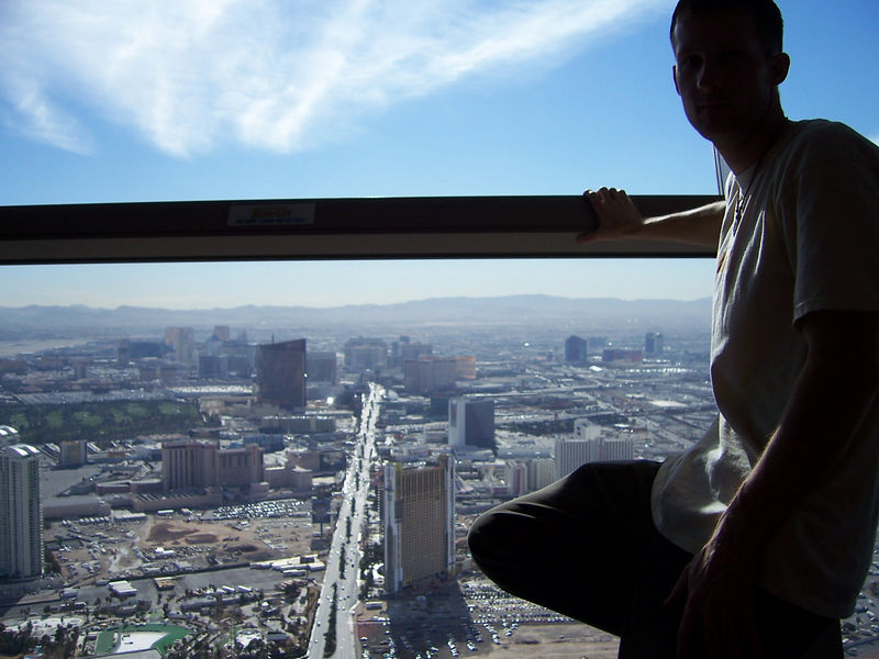 On our 2nd night in Nevada we treat ourselves to a hotel in Vegas before heading over to Joshua Tree.  Here I'm at the top of our hotel, The Stratosphere, with the Vegas strip below.
