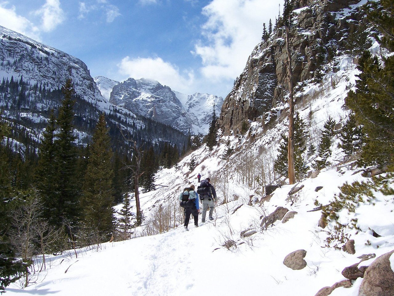 No visit is complete without some camping - Brian & April hike the Glacier Gorge Trail in Rocky Mtn NP.