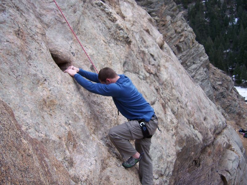 Brian puzzles over how to get his feet where his hands are.  A fun route at the Catslab, Clear Creek Canyon.