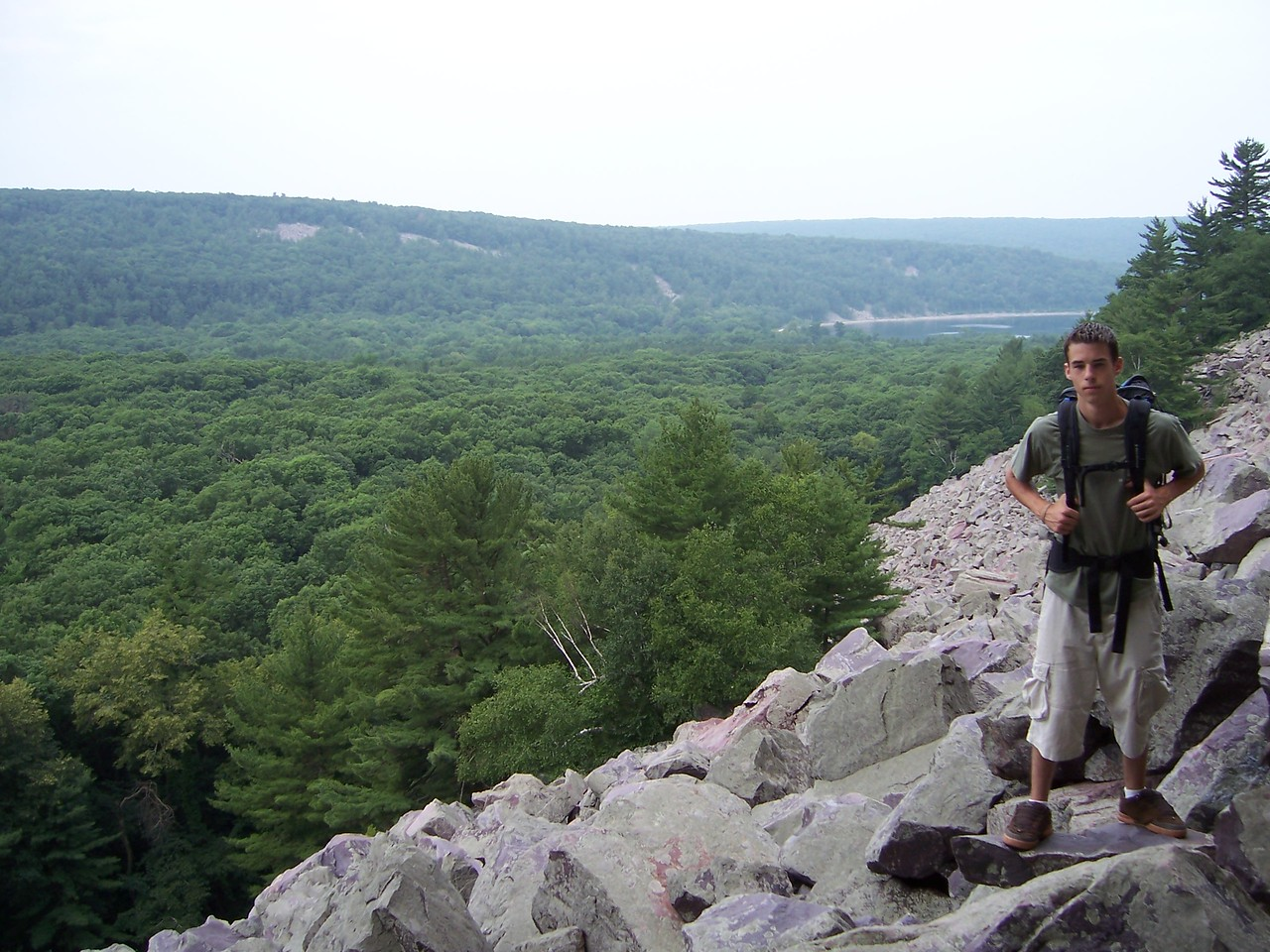 me & Dan head up to sample the climbing at Devils Lake