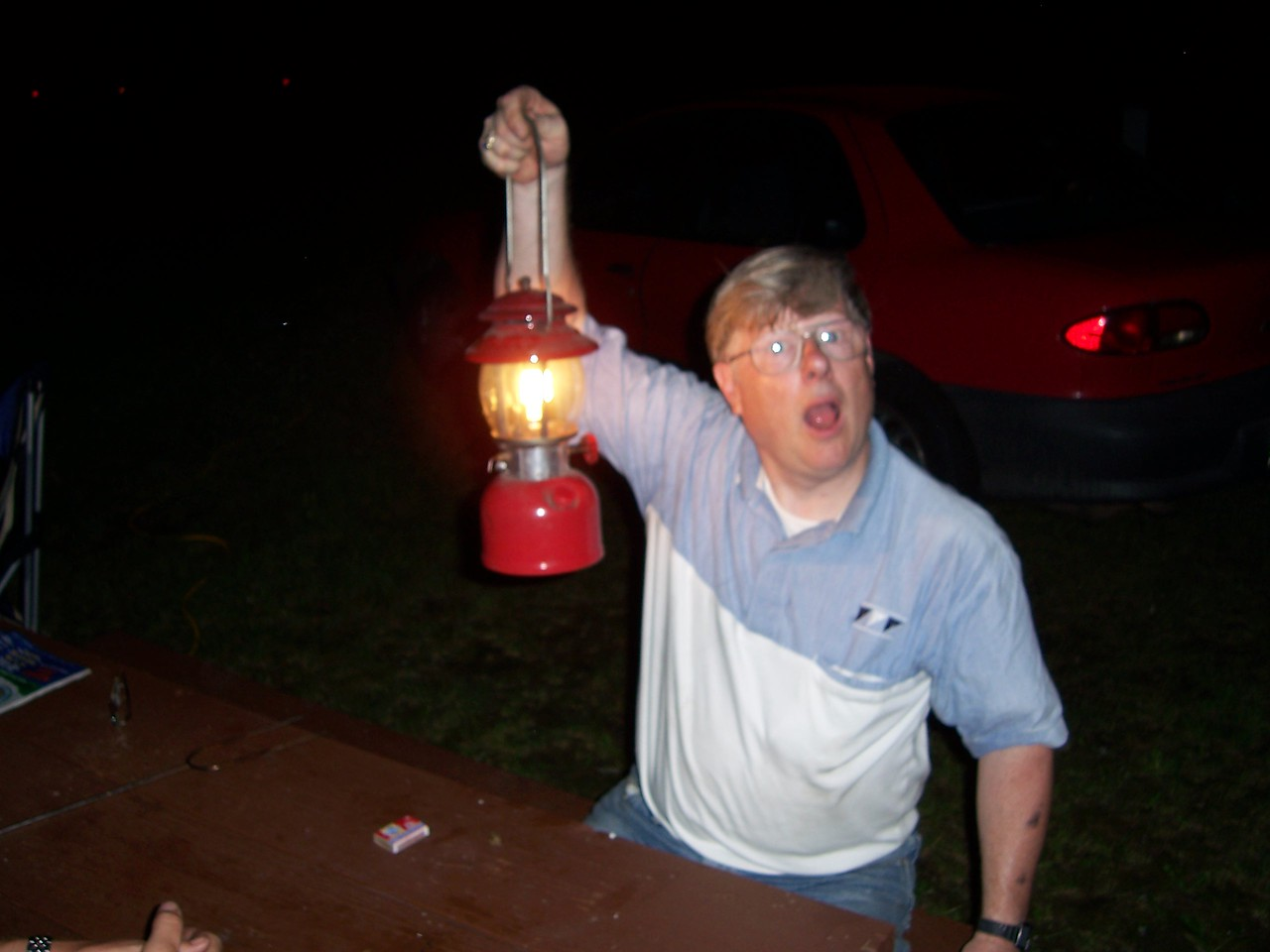 "Dad finally gets his ancient lantern going after almost blowing himself up.  ""Hey dad, the Smithsonian called, they want their lantern back!"""