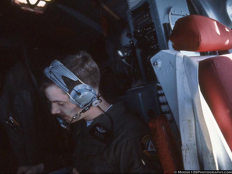 Boom Operator Sgt. Dan South taking care of paperwork.