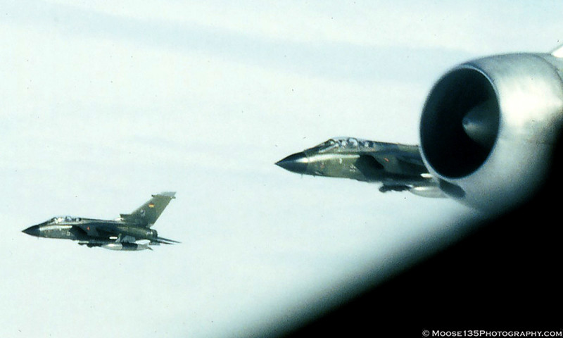 Luftwaffe Tornados flying on our wing during a refueling mission over West Germany.