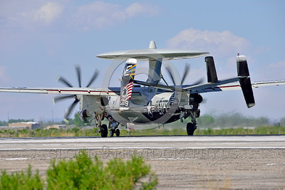 E-2USN-VAW-113 007 Quarter rear view of a colorful Grumman E-2C Hawkeye USN 165819 VAW-113 BLACK EAGLES USS Carl Vinson on NAS Fallon's runway during take-off roll 4-2016 military airplane picture by Peter J  Mancus