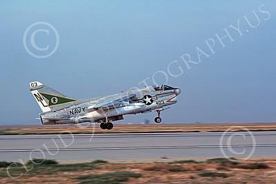 A-7USN 00148 A landing Vought A-7 Corsair II USN 158026 VA-105 GUNSLINGERS USS Carl Vinson NAS Fallon 11-1983 military airplane picture by Michael Grove, Sr