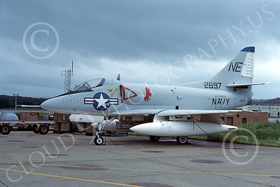 A-4USN 00030 A US Navy Douglas A-4B Skyhawk attack jet, 142897, USS Intrepid, 7-1978, military airplane picture, by Clay Janson
